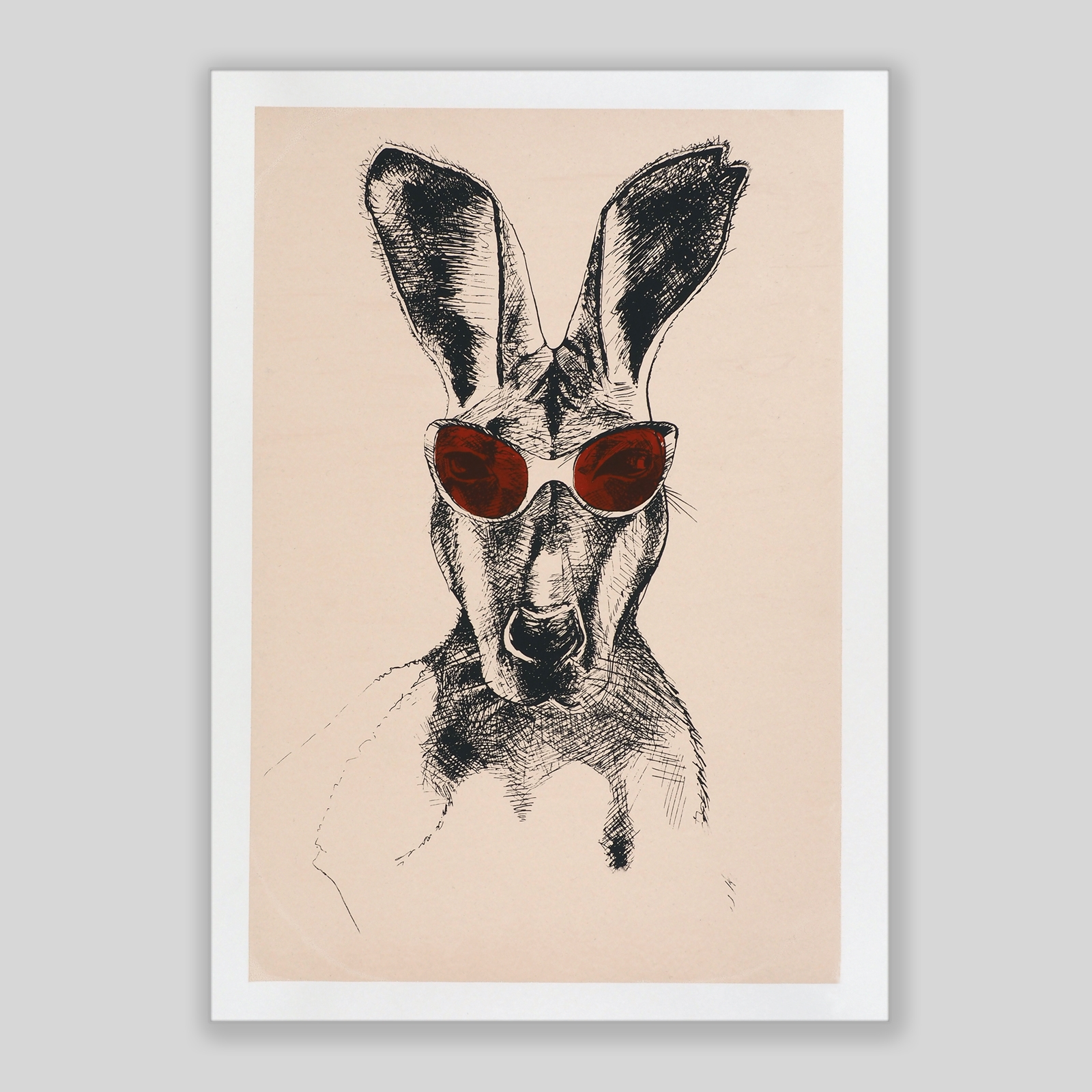 Känguru mit bordeaux-roter Brille