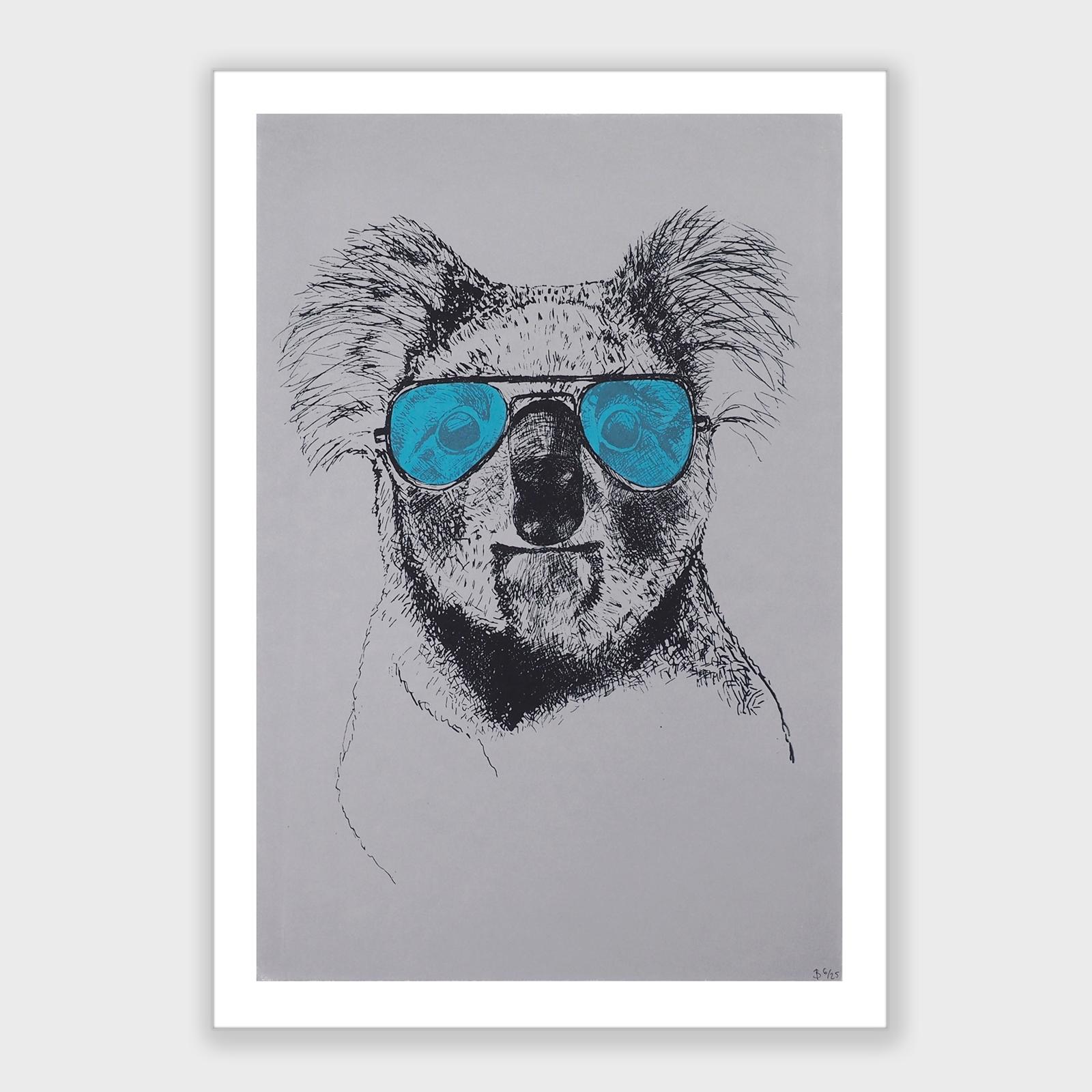 Koala mit cyanfarbener Brille
